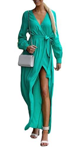 Donne A V Lunga Scollo Solido Manica Verde Maxi Con Vestito Delle Jaycargogo Involucro xB71Z1