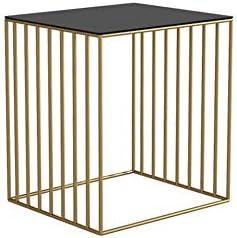 安定した メタルベッドサイドテーブルベッドサイドサイドテーブルは簡単で、耐久性と実用的なシェイプ ファッション (Color : Gold)