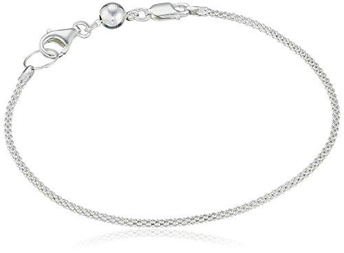 CHARMED BEADS Sterling Silver Diamond Cut Wheat Chain Double Lock Lobster Bead Charm Bracelet, ()