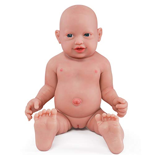 vollence 23 inch Full Silicone Baby Dolls That Look Real,Not Vinyl Material Dolls,Real Full Body Silicone Baby Doll,Handmade Lifelike Newborn Baby Dolls - Girl
