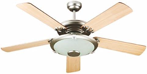 Kooper – 2408576 Ventilador de techo con 5 aspas, madera, luz y ...