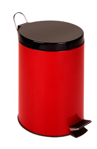 Honey-Can-Do TRS-02073 Stainless Steel Step Trash Can with Liner, Red, (12l Pedal Bin)