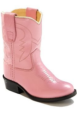 Old West Cowboy Boots Girls Kids Leather PVC Sole 7 Infant Pink (Pink Cowgirl Boots Toddler)