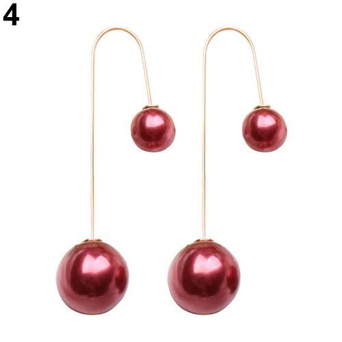Price comparison product image wsloftyGYd Women U-Shaped Double Sided Faux Pearl Ball Drop Dangle Earrings Party Jewelry Fashion Pearl Long Earrings U-Shaped Ear Hooks Burgundy