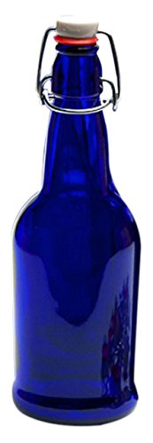 Home Brew Ohio 4Q-Q3K1-N4CH Cobalt EZ Cap Kombucha Bottle, 1 oz. x 32 oz., Blue (Neck Gasket)