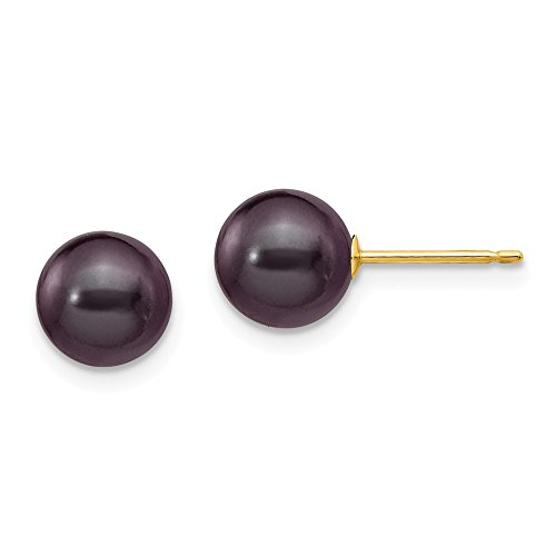 Jewel Tie 14k Yellow Gold 7-8mm Black Round FW Cultured Pearl Stud Earrings