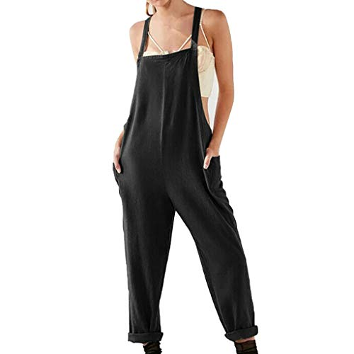 RAINED-Women's Baggy Wide Leg Loose Overalls Solid Cotton Linen Plus Size Harem Jumpsuits Pants One Piece Bib Rompers Black