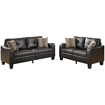 Poundex Bobkona Spencer Bonded Leather 2Piece Sofa & Loveseat Set in Espresso