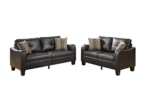 Poundex Bobkona Spencer Bonded Leather 2Piece Sofa & Loveseat Set in Espresso (Poundex Set Loveseat)