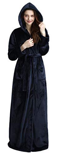 Foucome Womens Fleece Bathrobe Long Warm Soft Spa Robes Winter Sleepwear Hood Navy Blue US M - Tag XL
