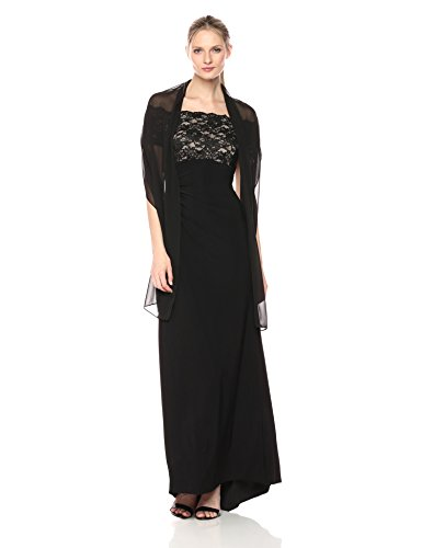 Jessica Howard Women's Lace Bodice Gown, Black/tan, 12 ()