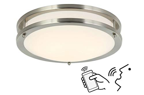 Smart Alexa Ceiling Light Work with Alexa and Google Assistant for Bedroom and Hallway, Dimmable and Color Temperature Changeable, 12 Inch No Hub Required.