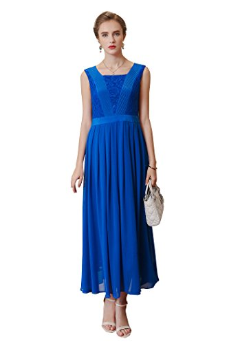 Silk Pleated Dress (VOA Women's Blue Sleeveless Pleated Silk Midi Dress A6963)