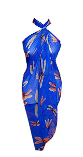 Scarf_tradinginc Floral Dragonfly Bird Pareo Sarong Swimsuite Cover-up (Dragonfly Royal Blue)