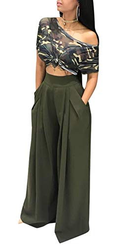 Womens Stretch Straight Leg High Waisted Casual Long Pants
