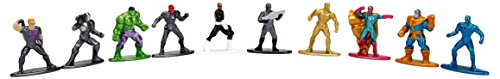 Nano Metalfigs Marvel Avengers Super Hero Multi-Pack Miniature Diecast Collectible Figures (10 Piece), Various, 1.65