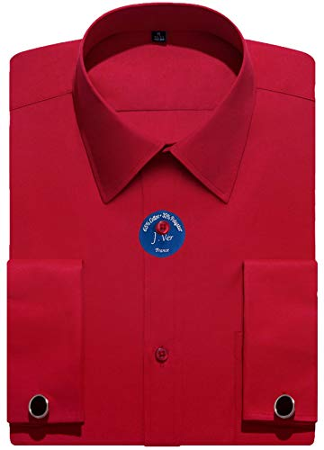 (J.VER Men's French Cuff Dress Shirts Regular Fit Long Sleeve Spead Collar Metal Cufflink - Color:Red, Size: 18.5