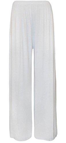 Party Palazzo Vas Wear Fantaisie xxl White Pantalons Fashions Jambe Femmes Stretch Islander Large Plaine Baggy S Pantalon Dames 354jLAR