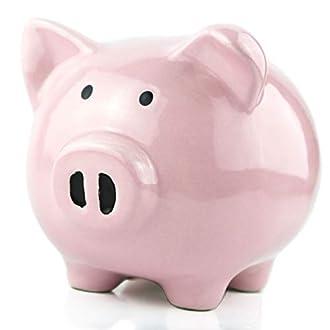 KNRAGHO Pink Piggy Bank,Ceramic Money Piggy Bank Kids