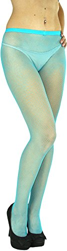 ToBeInStyle Women's Fishnet Full Footed Panty Hose Tights Hosiery - Queen Size - Turquoise -