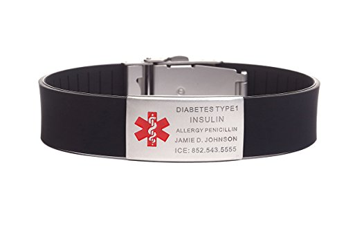 Stainless Steel Rubber Medical Alert ID Sports Bracelet for Men and Women Black (Free Engraving)