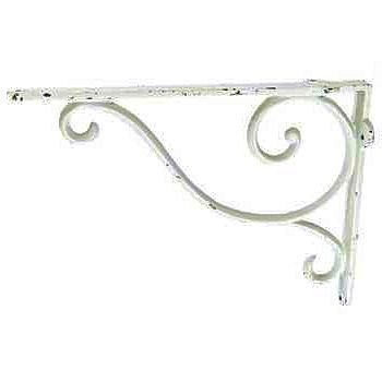 (Dist By Classyjacs - Cast Iron - All-Purpose Hanger - Plant Hanger or Shelf Bracket - Wall Hanger - Indoor or Outside Use - (Primitive White wash Finish - Old Country Scroll Design) x)