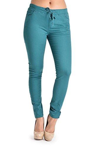 G-Style USA Women's Solid Skinny Twill Jogger Pants RJJ440 - Teal - Medium - C8F