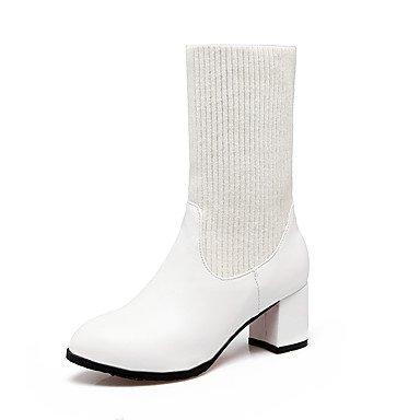 redonda tejida Toe otoño Talón 10 de conjunta dividida Toe moda UE41 casual vestimenta sintética cerrado 5 para Chunky Zapatos Blanco Negro mujer invierno kekafu US9 Blanco piel REINO botas botas nqZ78a57w
