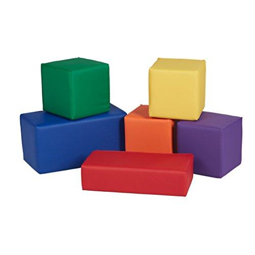 ECR4Kids Softzone Stack-A-Block, Soft Foam Play Set for Kids, Assorted ()