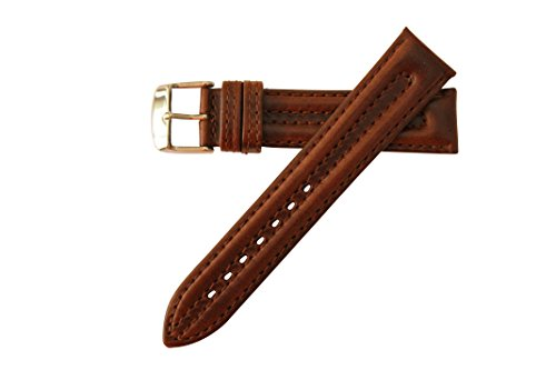 Genuine Oil Tan Leather Watch Strap 20mm Brown MS883 (Brown Oil Tan Leather)