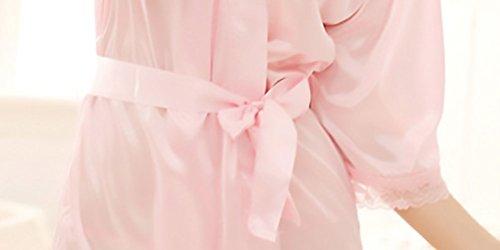 Accappatoio Con Donne Corta Pigiama Pink Grazioso Cintura Elegante Women Vestaglia Solido 3 Vestaglie Giovane Manica Donna 4 FOzEpE