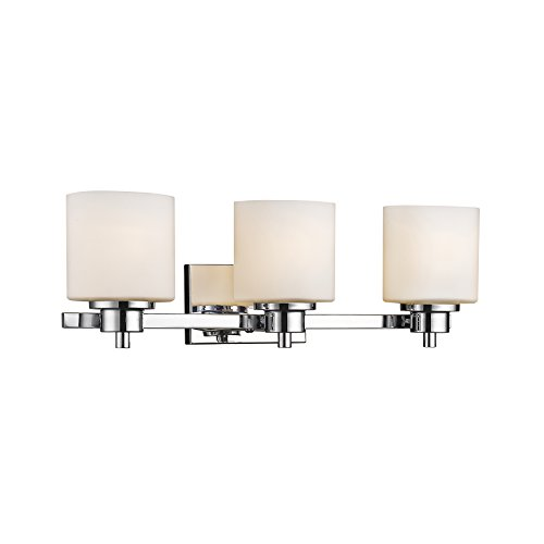 Chloe Lighting CH821036CM24-BL3 Contemporary 3 Light Chrome Finish Bath Vanity Wall Fixture White Alabaster Glass 24'' Wide by Chloe Lighting (Image #1)