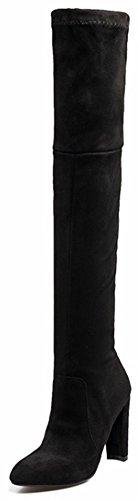 Idifu Womens Mode Simili Daim Tirer Sur Les Orteils Pointus Haut Talon Chunky Sur Les Bottes Hautes De Genou Noir