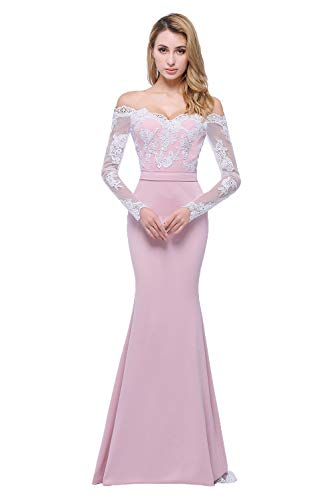 Honey Qiao Blush Off The Shoulder Mermaid Bridesmaid Dresses Long Prom Party Gowns