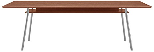 Lesro Mystic Rectangular Conference Table with Shelf & Silver Legs/Mahogany Top, 42