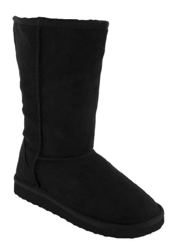 Sheepskin Faux Boot - SODA Soong Warm and Comfy Classic Faux Sheepskin Mid-calf Pull-on Boot with Faux Fur Shearling Interior in Black,Soongv1.0 Black 7.5