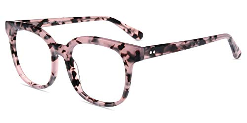 Firmoo Blue Light Blocking Glasses, Womens Computer Glasses(Anti Eyestrain), Pink Floral Square Eyeglasses ()