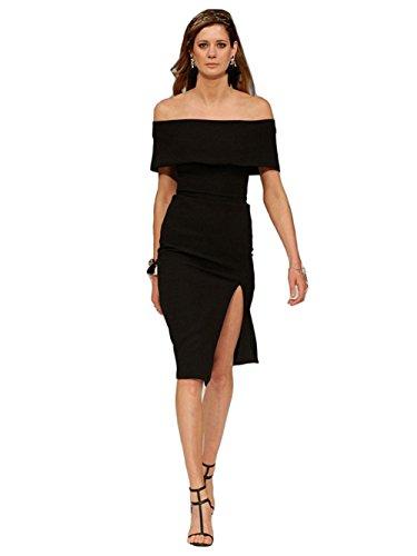 Alice And Elmer Womens Rayon Split Off The Shoulder Bandage Dress Black L