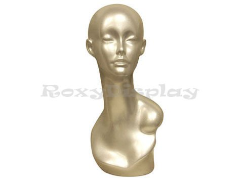 (MD-TinaS) ROXYDISPLAYTM Half close eyes. Female mannequin head, Fiberglass, Silver color.