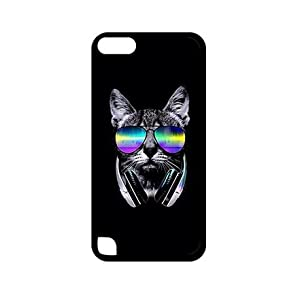 Designed Supreme Cool Cat With Glasses Thin Flexible Plastic Cover Case For IPod Touch 5 Generation 5th Ipod Ultra Cell Phone Casing Teen Girls