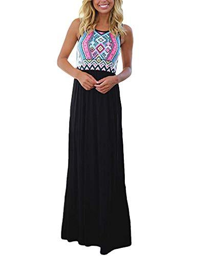 Sherosa Women's Summer Casual Loose Dress Sleeveless Beach Cover Up Long Maxi Dresses (S, T-Black)