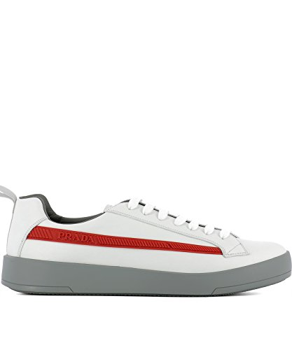 Prada Degli Uomini 4e31966dtf0009 Sneakers In Pelle Bianca
