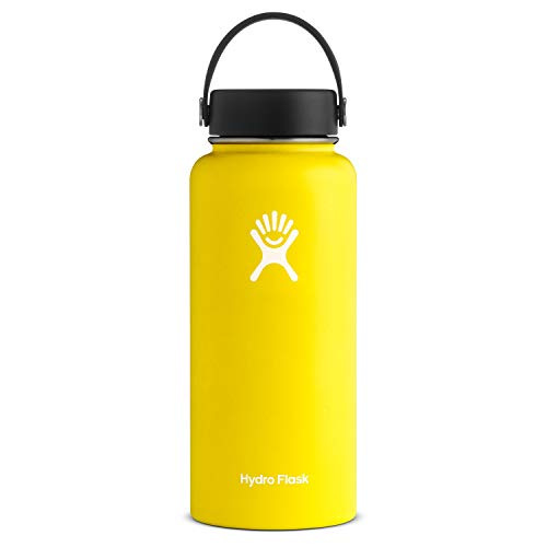 Hydro Flask Water Bottle - Stainless Steel & Vacuum Insulated - Wide Mouth with Leak Proof Flex Cap - 32 oz, Lemon (Skyline Products Outdoor)