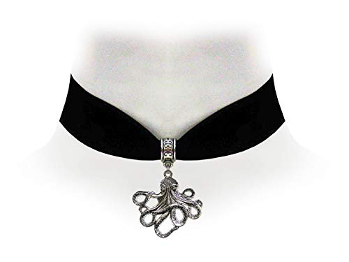 Choker Pirate (Victorian Vault Octopus Black Velvet Choker Steampunk Jewelry Gothic Necklace)