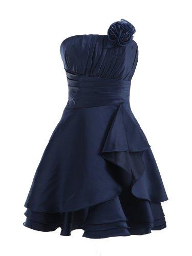 LandyBridal Women's Knee Length Pleated Flower Satin Formal Dress Dark Navy XL