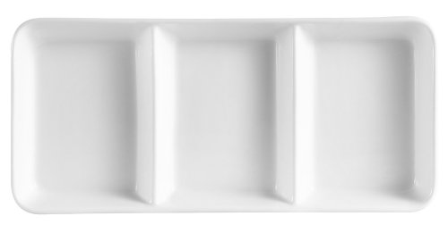 CAC China CN-3T13 Divided Tray 12-1/2-Inch by 5-1/2-Inch 6-Ounce 3 Super White Porcelain 3-Compartment Rectangular Tray, Box of 12 by CAC China