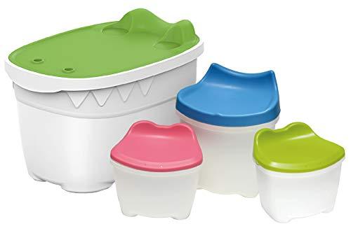 (livinbox Kids Toy Storage Ottoman Chest Plastic Bin Case Organizer Box for Boys & Girls Room Organizer 46L CB-46 Combo A)