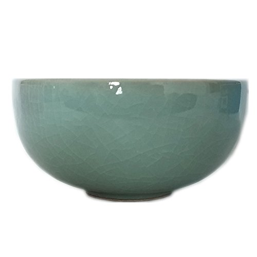 - Celadon Glazed Chinese Rice Bowl 4.5Inch with Cracking(1, Light Grey)