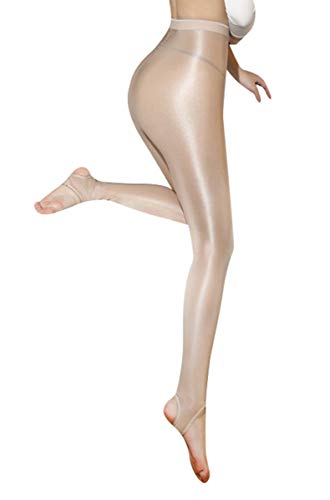 Nylon Spandex Stockings - Kffyeye 100D Women's Control Top Thickness Stockings Pantyhose, Ultra Shimmery Footed Tights(0818,Beige)