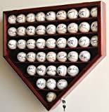 43 Baseball Ball Display Case Cabinet Holder Rack Home Plate Shaped w/98% UV Protection- Lockable